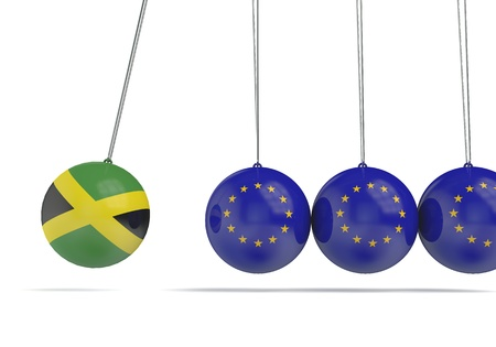 Jamaica and european flags political relationship concept. 3D Rendering