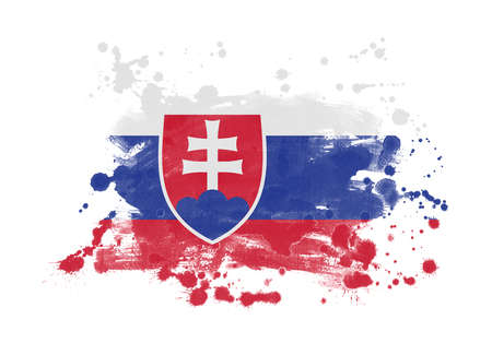 Slovakia flag grunge painted background