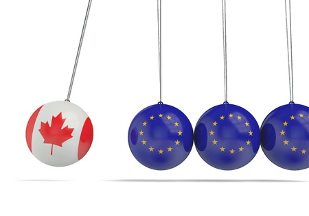 Canada and european flags political relationship concept. 3D Rendering