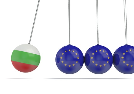 Bulgaria and european flags political relationship concept. 3D Rendering