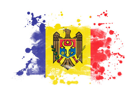 Moldova flag grunge painted background