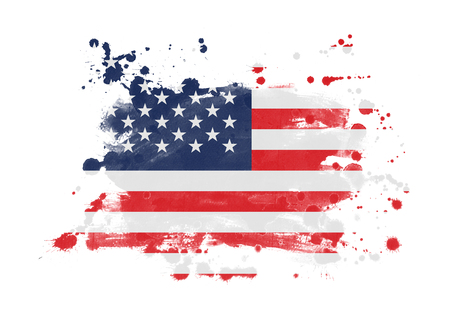 USA flag grunge painted background