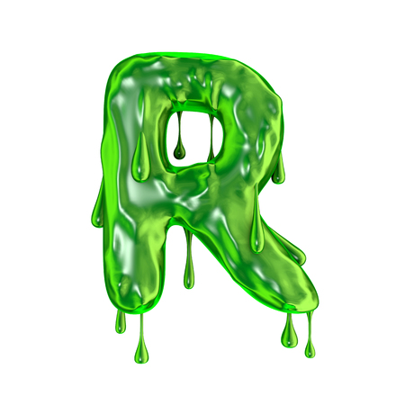 Green dripping slime halloween capital letter R