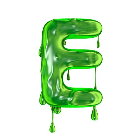 De groene druipende hoofdletter E van slijmhalloween