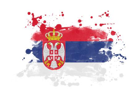 Serbia flag grunge painted background Banco de Imagens