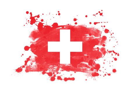 Drapeau suisse grunge peint à fond Banque d'images - 92747759