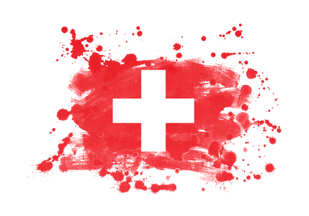 Switzerland flag grunge painted background Reklamní fotografie - 92747759