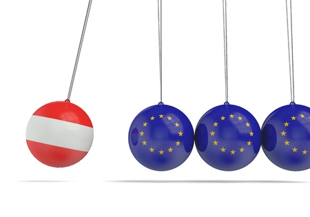 Austria and european flags political relationship concept. 3D Rendering Stock Photo
