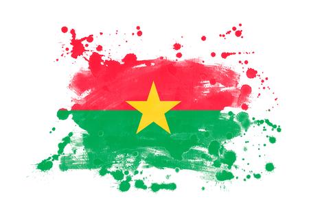 Burkina faso flag grunge painted background