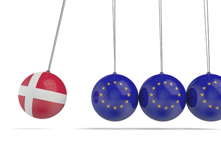 Denmark and european flags political relationship concept. 3D Rendering