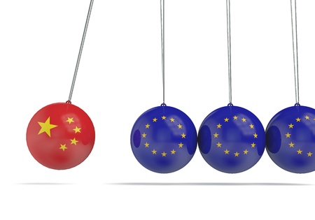 China and european flags political relationship concept. 3D Rendering