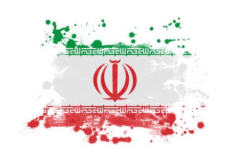 Iran flag grunge painted background 스톡 콘텐츠