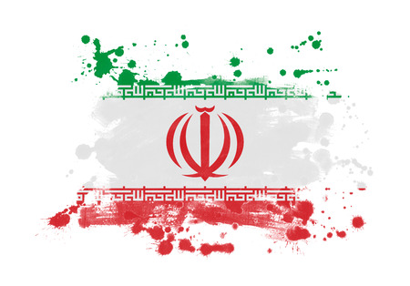Iran flag grunge painted background 写真素材