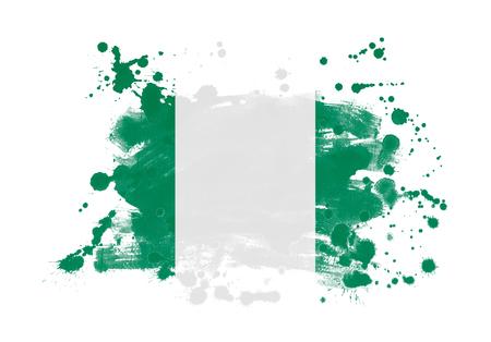 Nigeria flag grunge painted background Archivio Fotografico