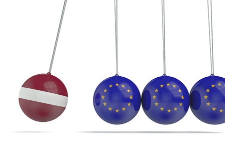 Latvia and european flags political relationship concept. 3D Rendering Archivio Fotografico