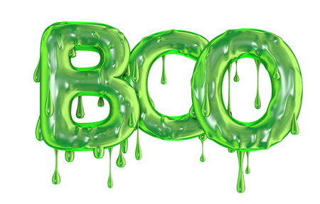 Boo word made from green dripping slime halloween letters