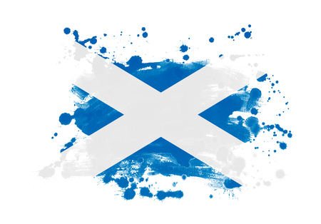 Scotland flag grunge painted background Stock Photo