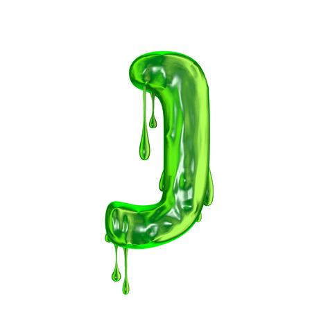Green dripping slime halloween capital letter J