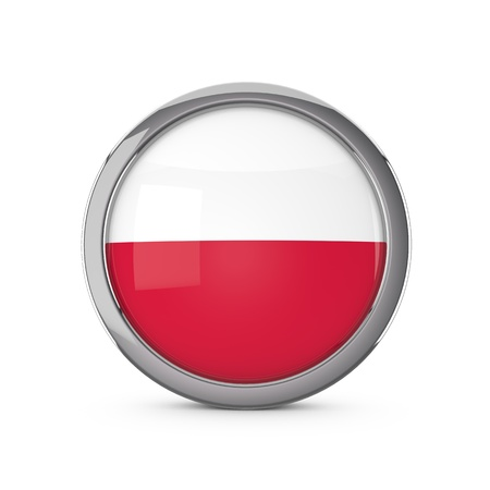 Poland national flag in a glossy circle shape with chrome frame. 3D Rendering