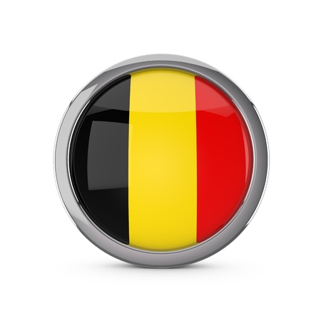 Belgium national flag in a glossy circle shape with chrome frame. 3D Rendering Stock Photo