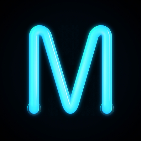 Blue neon glowing light letter M capital letter. 3D rendering Stock Photo