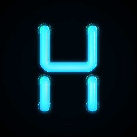 Blauwe neon gloeiende lichte brief H hoofdletter. 3D-rendering Stockfoto