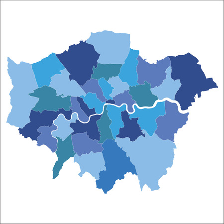 Greater London map showing all boroughs Stock Vector - 92940605