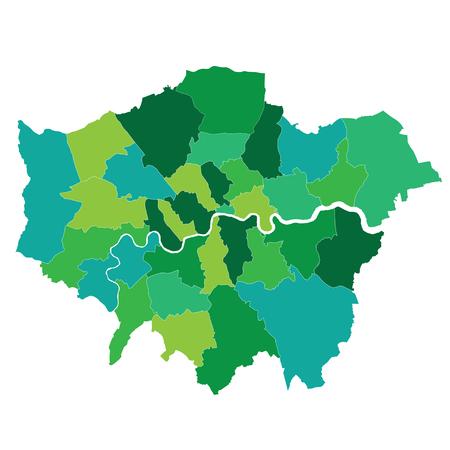 Greater London map showing all boroughs Vektoros illusztráció