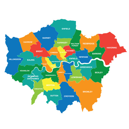 Greater London map showing all boroughs Reklamní fotografie - 92937344