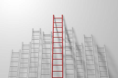 Stopniuj drabiny przy ścianie. Wzrost, przyszłość, koncepcja rozwoju. Renderowanie 3D Zdjęcie Seryjne