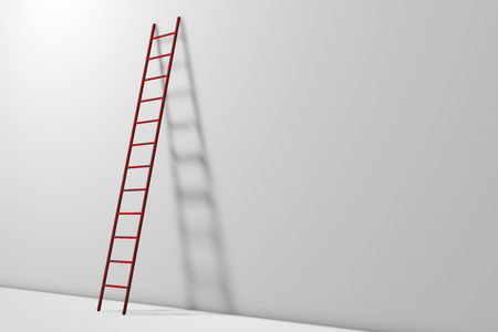Step ladders against a wall. Growth, future, development concept. 3D Rendering