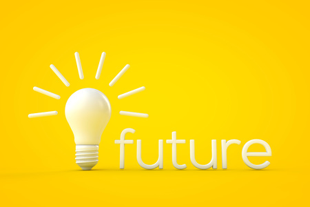 White lightbulb against a yellow background, bright future concept. 3D rendering