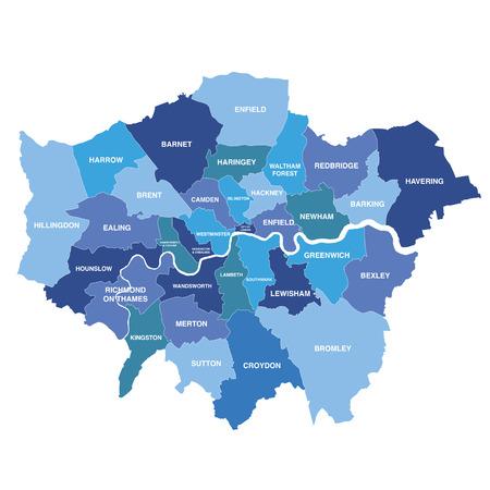 すべての自治区を示すグレーターロンドンマップ