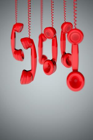 Vintage telephone handset receiver background. 3D rendering