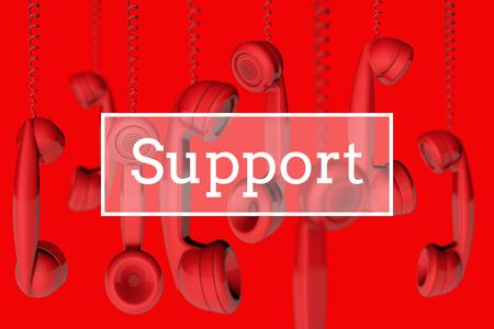 Hanging telephone handsets customer support message. 3D rendering Stock fotó - 92950939