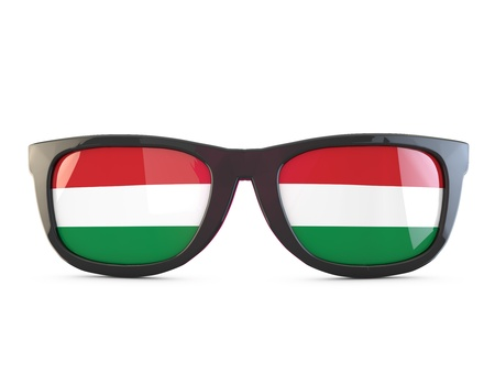 Hungary flag sunglasses. 3D Rendering Stock Photo