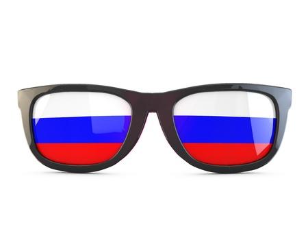 Russia flag sunglasses. 3D Rendering Stock Photo