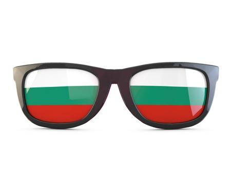 Bulgaria flag sunglasses. 3D Rendering Stock Photo