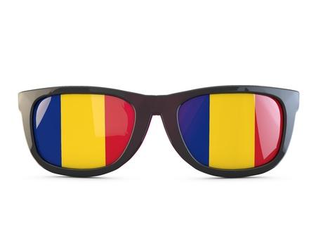 Romania flag sunglasses. 3D Rendering 스톡 콘텐츠
