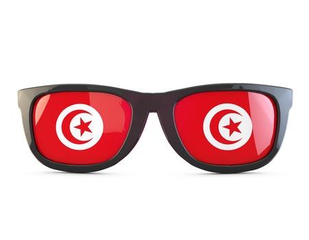 Tunisia flag sunglasses. 3D Rendering