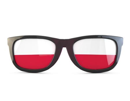 Poland flag sunglasses. 3D Rendering Stock Photo