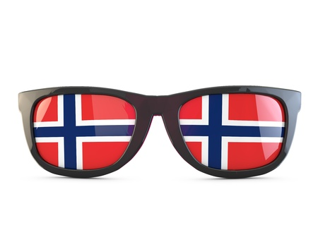 Norway flag sunglasses. 3D Rendering Stock Photo