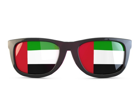 UAE flag sunglasses. 3D Rendering Stock Photo