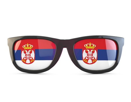 Serbia flag sunglasses. 3D Rendering