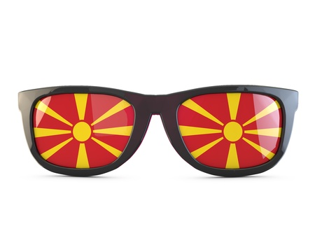 Macedonia flag sunglasses. 3D Rendering Stock Photo