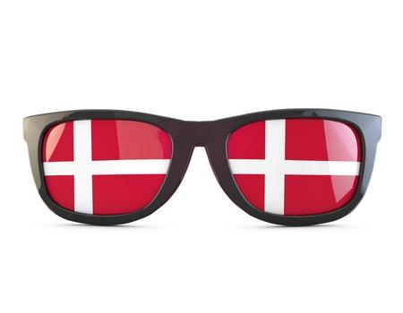 Denmark flag sunglasses. 3D Rendering