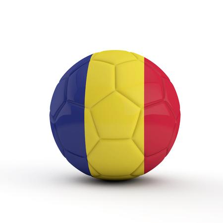 Romania flag soccer football against a plain white background. 3D Rendering
