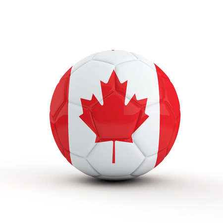 Canada flag soccer football against a plain white background. 3D Rendering