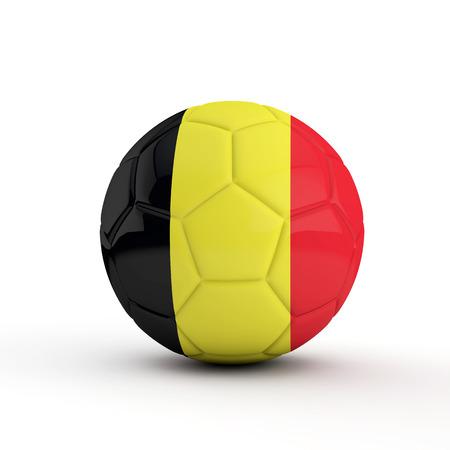 Belgium flag soccer football against a plain white background. 3D Rendering