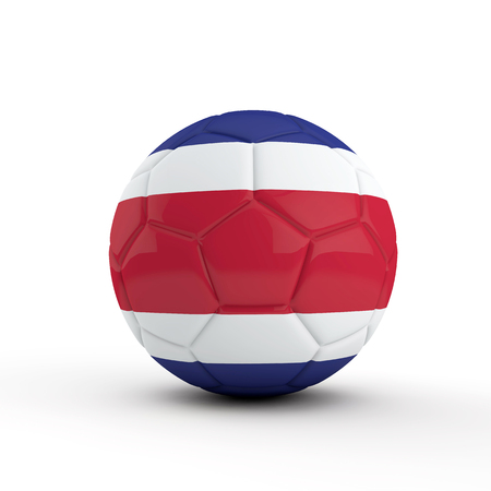 Costa Rica flag soccer football against a plain white background. 3D Rendering Stock Photo